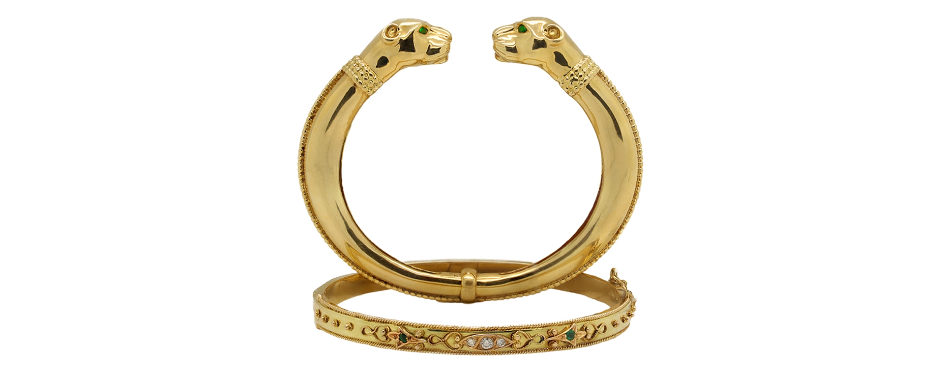 Panther Bracelet & Yellow Gold With Emeralds & Diamonds